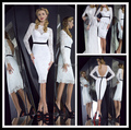 Sexy 2016 White Cocktail Dresses Long Sleeve Scoop Mermaid Short Womens Party Dress Formal Backless Vestido Social Curto