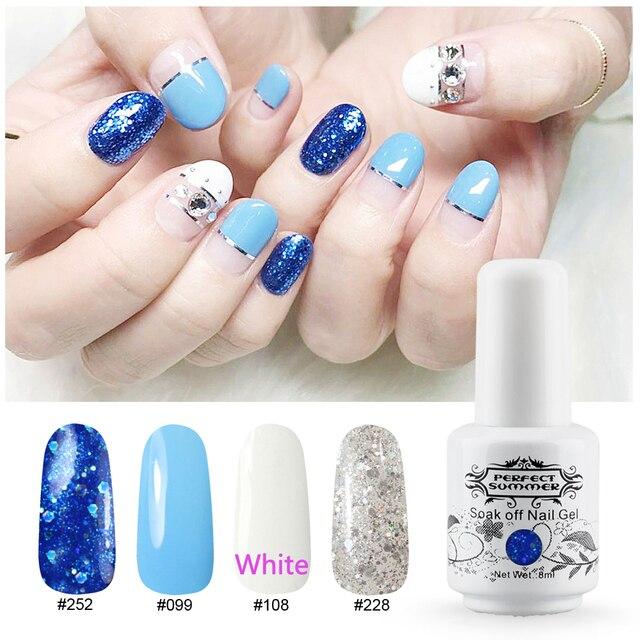 Perfect Summer Gel Nail Polish Blue White Clear Glitter Color Uv Varnish 8ml 4