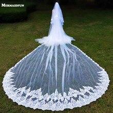 Фата свадебная Длинная с гребнем, роскошная двухслойная, с блестками и кружевом, для леса, 5 метров