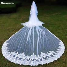 Real Photos Luxury 2 Layers Sequins Lace 5 Meters Woodland Bridal Veils with Comb Long Wedding Veils Veu De Noiva Longo