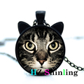 New Fashion Black Cat Pendant Cat Face Necklace Cat Ear Jewelry Glass Cabochon Necklace Cat Lover Jewelry