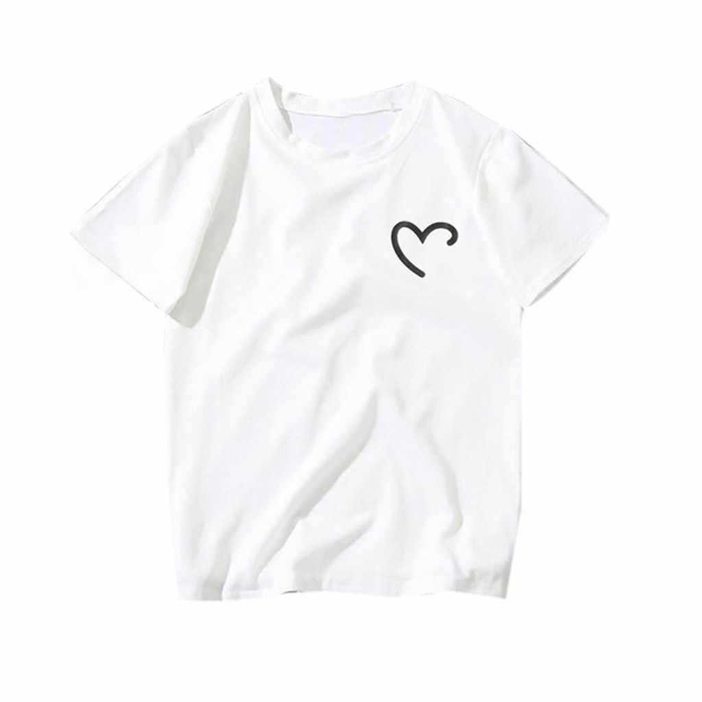 Ropa de verano para amantes, camiseta de moda para parejas de hombres y mujeres, novedad de 2019, ropa Casual con estampado en forma de corazón para amantes