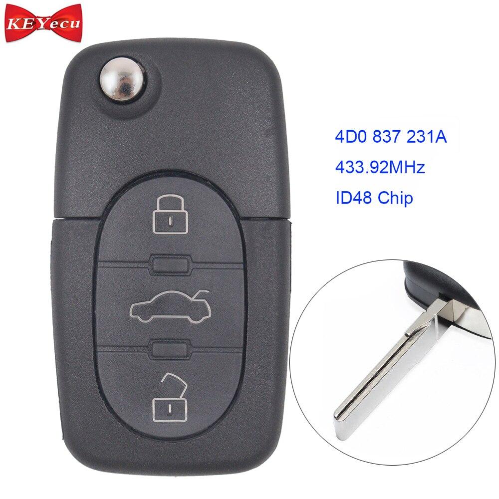 Car Key Fob Alarm Transmitter Remote Control For 2007 2008 Audi RS4