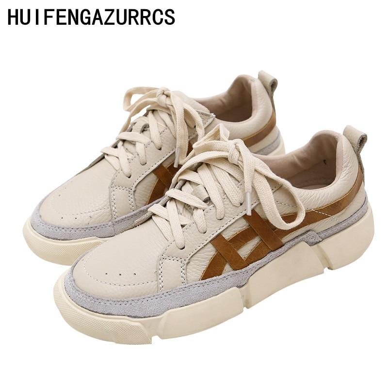 HUIFENGAZURRCS 春と秋ソフトソール快適な小さな白靴女性の浅いレース低アッパー本革の靴  グループ上の 靴 からの レディースパンプス の中 1