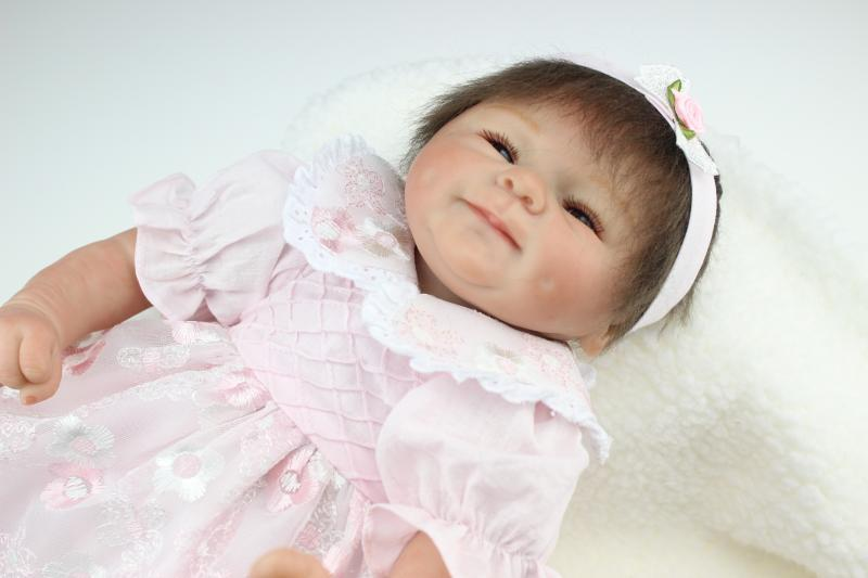 18 Inch Silicone Reborn Baby Dolls Mohair Pink Dress