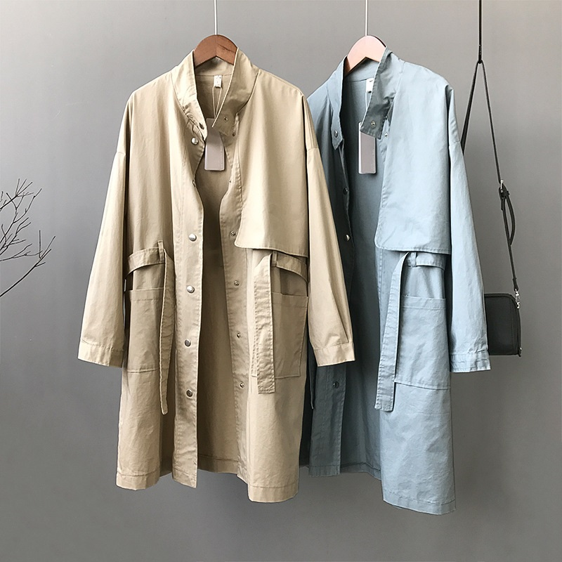 2019 Spring Autumn Casual   Trench   Coat for Women Loose Large size Medium long Outwear Stand Long sleeve Female Windbreaker AA661