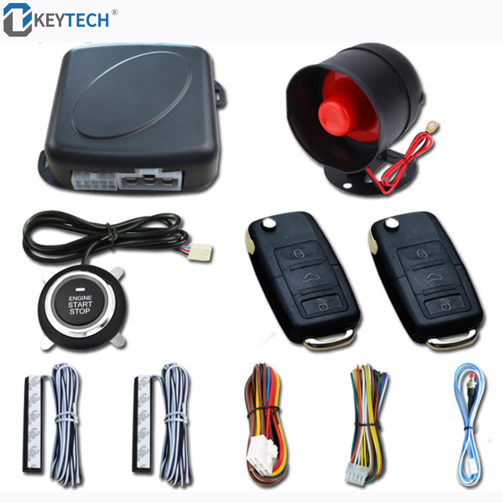 OkeyTech Keyless Entry Engine Start Alarm System Push Button Remote Starter Stop Auto Anti-theft Car Search image
