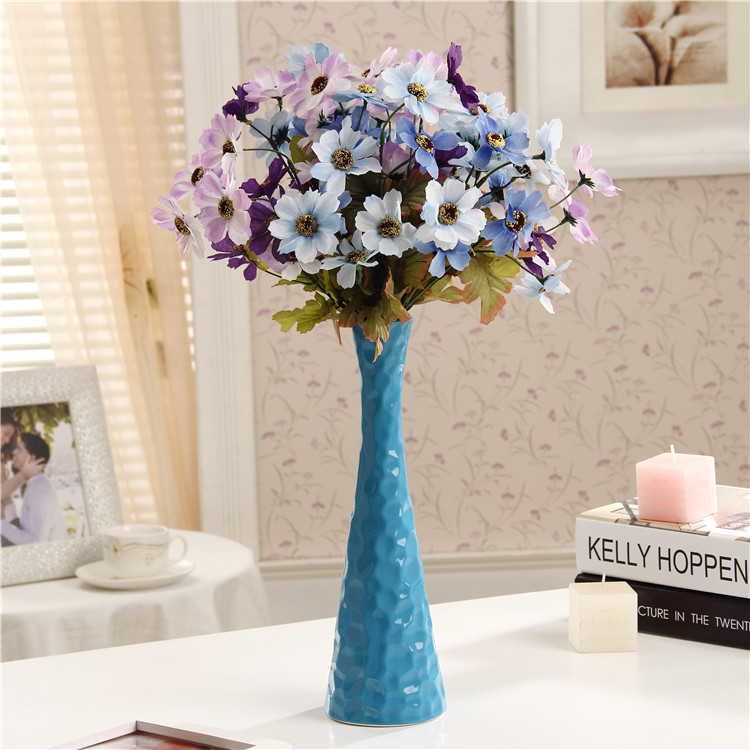 Ceramic Vase Floral Decorations Blue Mediterranean Home Furnishing Inserted Modern Minimalist Creative Ornaments