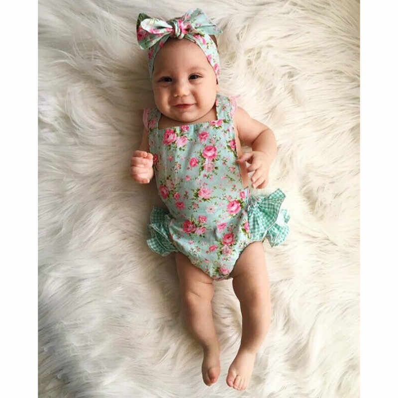 8d1a45652024 Detail Feedback Questions about 2018 Direct Selling New Belt Cute Baby  Rompers Summer Ruffled Flower Girl Costumes Set Kids Jumpsuit Cotton Romper  Photo ...