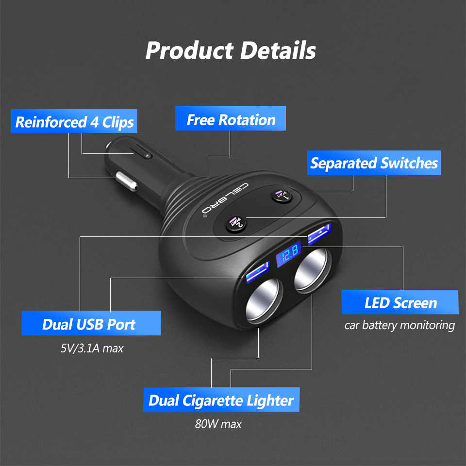 3.1A 2 יציאה כפולה USB מטען לרכב מצית ספליטר מתאם 24 V 12 V אוטומטי רכב מטען שקע עבור GPS DVR נייד טלפון 80 W