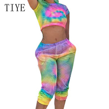 TIYE Summer Grid Graffiti Retro Printing Two-piece Jumpsuits Women Short Sleeve Hollow Out Casual Playsuit Street Wear