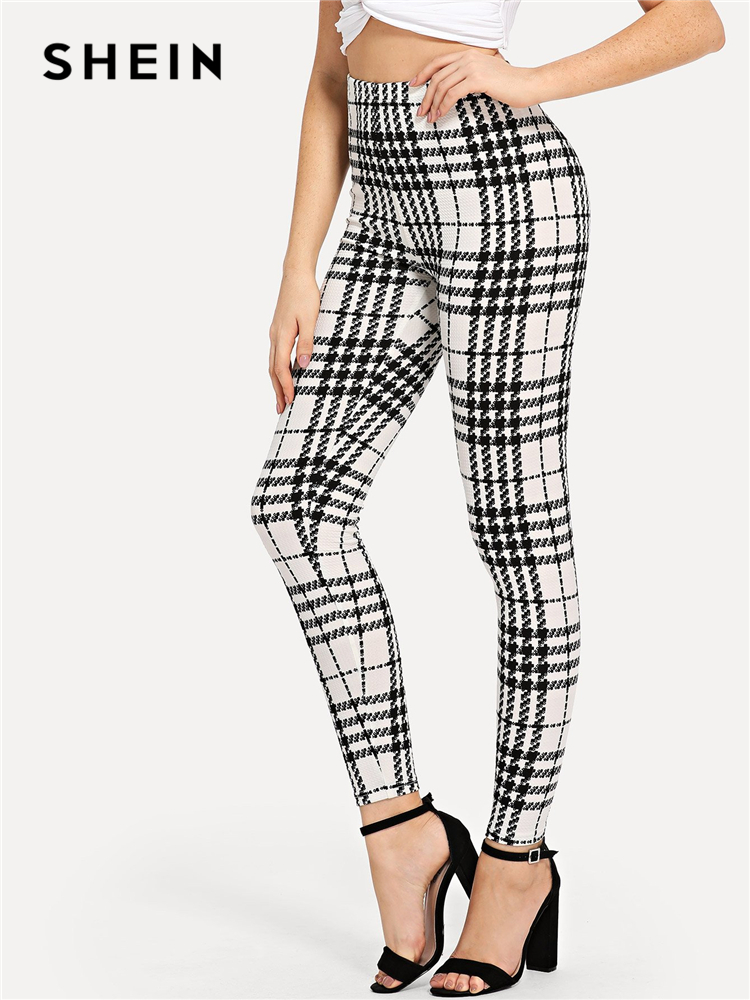 SHEIN Black And White Office Lady Highstreet Plaid Skinny High Waist Casual   Leggings   Summer Women Elegant   Leggings   Trousers