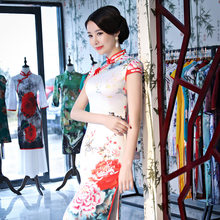 New Vintage Print Floral Traditional Chinese Women Dress Satin Sexy Ankle-Length Qipao Lady Mandarin Collar Slim Cheongsam S-4XL(China)
