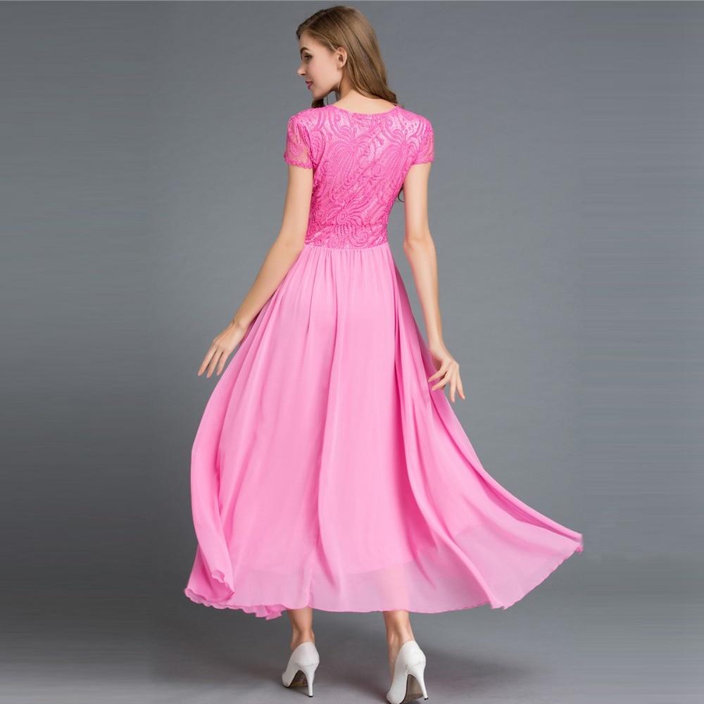 Neue sommer frauen Chiffon rosa kleid damen große schaukel kurzarm ...