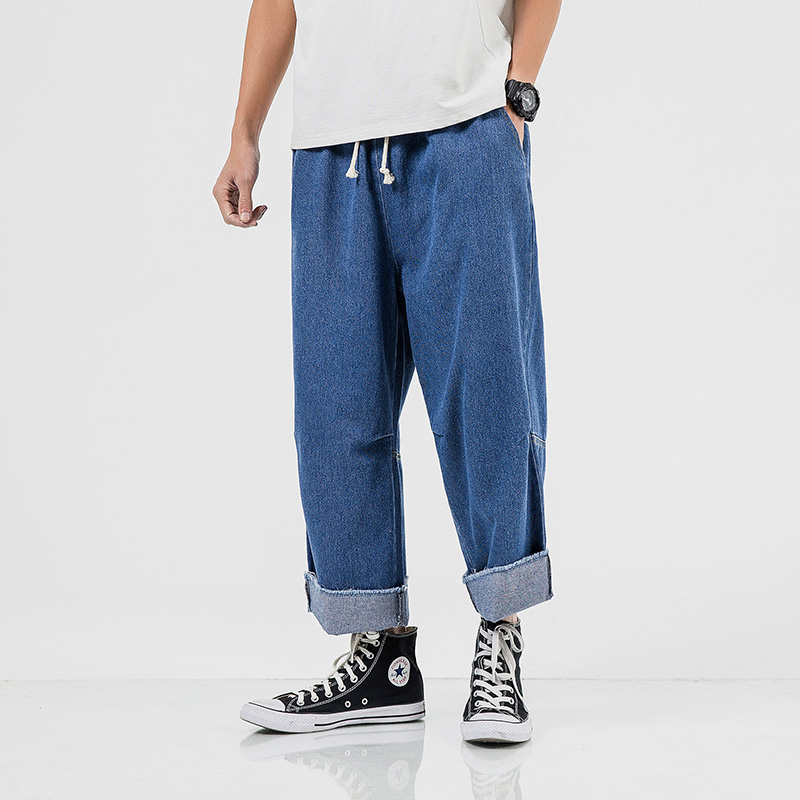 Spring Autumn Loose Jeans Joggers New Men's Drawstring Waist Wide Leg Jeans Pants Baggy Denim Trousers Fashion Men's Wear 5XL