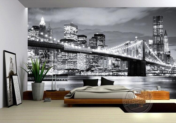 Aliexpress.com: Compre Moda Foto Da Cidade PONTE De BROOKLYN NEW YORK  Designer De Papel De Parede Pintura Mural Da Parede Preto U0026 Branco  Decoração Do Quarto ... Part 74