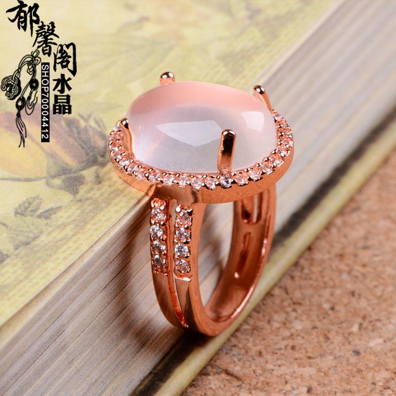 powder lotus peach blossom gold Natural Semi-precious stones Pink crystal party Rose Quartz Retro rings girlfriend gift Bohemia