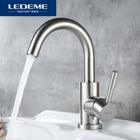 LEDEME Basin Faucets Stainless Steel Bathroom Faucet Rotate Single Handle Hot and Cold Water Basin Mixer Taps Crane L1098 3