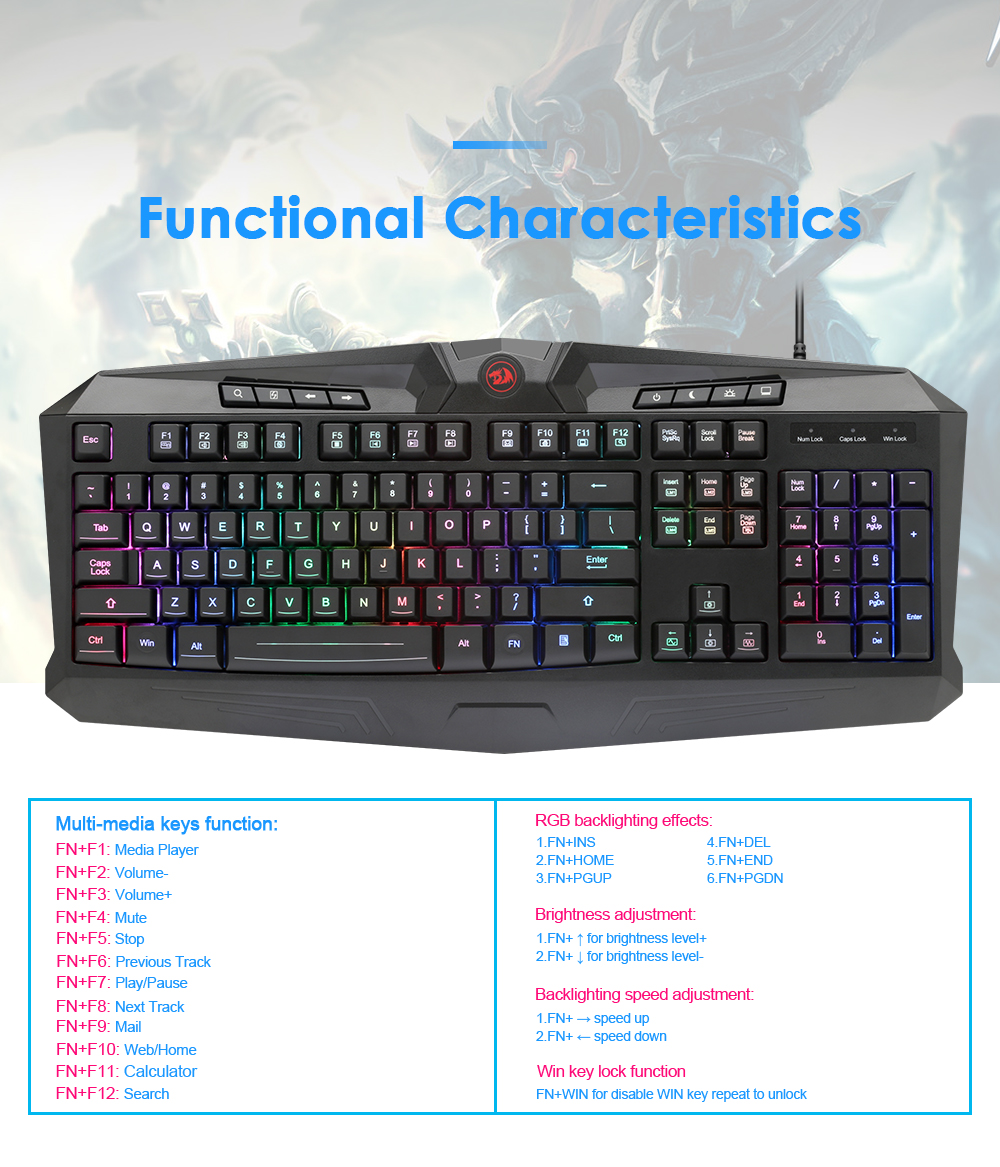 Redragon USB Gaming Membrane RGB Keyboard mouse pad earphone combos 104  keys 3200 DPI 5 buttons Mice Set Wired computer PC game