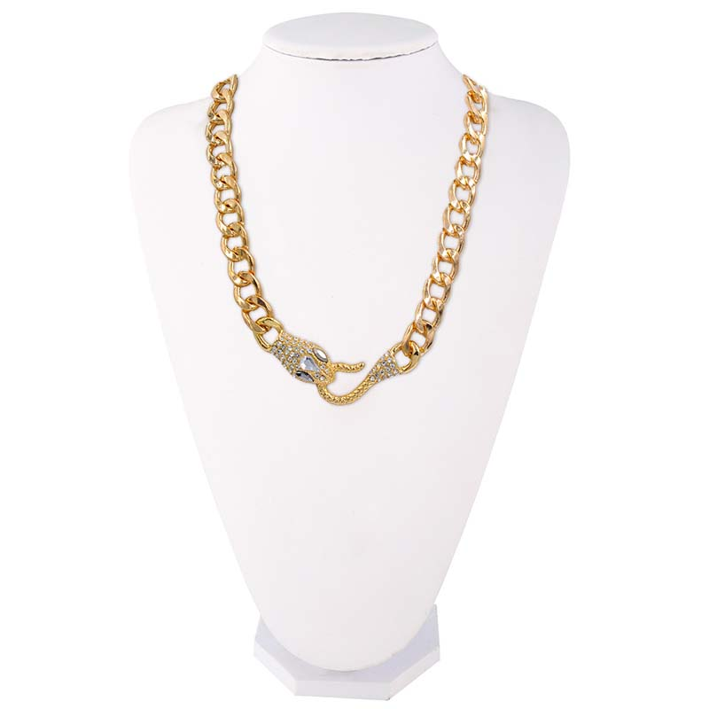 FUNIQUE Goldsilver Color Chain Necklace Fashion Alloy Snake Head Necklace For Men Women Statement  Jewelry Suspension Jewelery