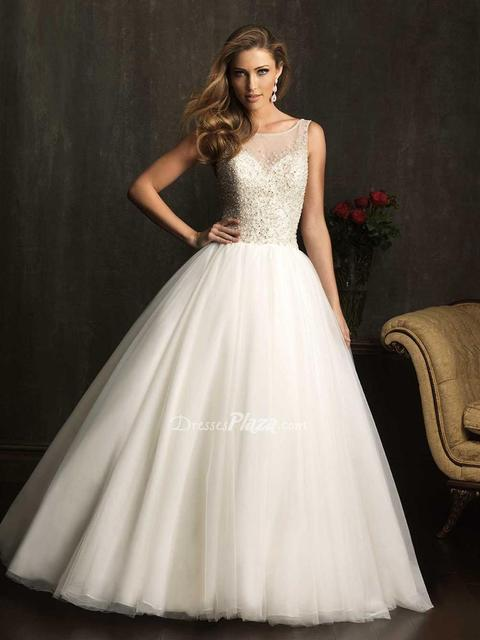 Elaborate Ball Gown Sheer Boat Neck Beaded Bodice Sleeveless Wedding Dress