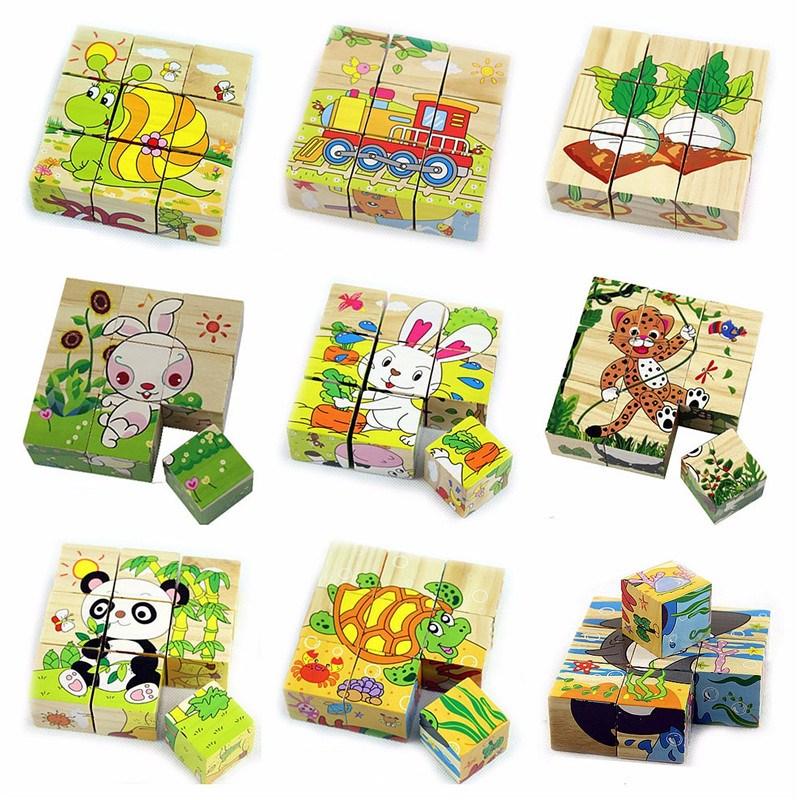 9 pçs/set Seis Lados De Madeira Puzzle Brinquedo Pintura Colorido Educacional De Madeira Crianças Brinquedos Presente Para Crianças Crianças