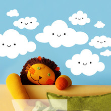 Happy Smiley Face White Clouds Wall Stickers For Kids Room Cute Baby Wall Art Decals Vinilos Paredes 3d Poster Vinyl Mural D946