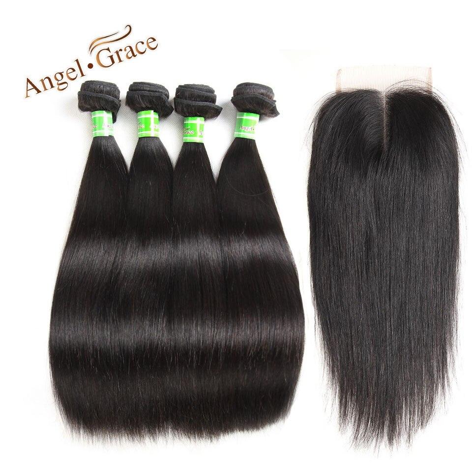 Angel Grace Brazilian Straight Hair Human Hair Bundles With Closure 4 Bundles With Lace Closure Human Rmey Hair Free Shipping