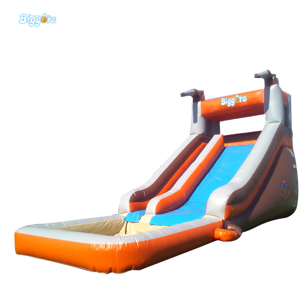 Free Sea Shipping Commercial Small Inflatable Water Slide with Pool for Sale children shark blue inflatable water slide with blower for pool