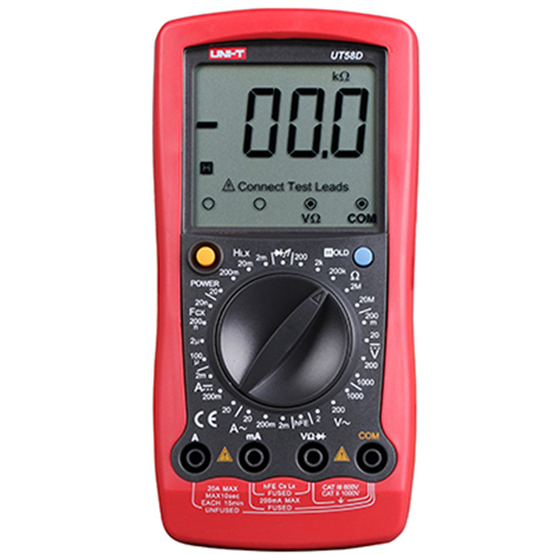 UNI-T UT58D LCD Digital Multimeter AC/DC Volt Amp Ohm Capacitance Inductance Tester 20A multimeter professional multimetro uni t ut603 2 7 lcd digital inductance capacitance tester red grey 1 x 9v
