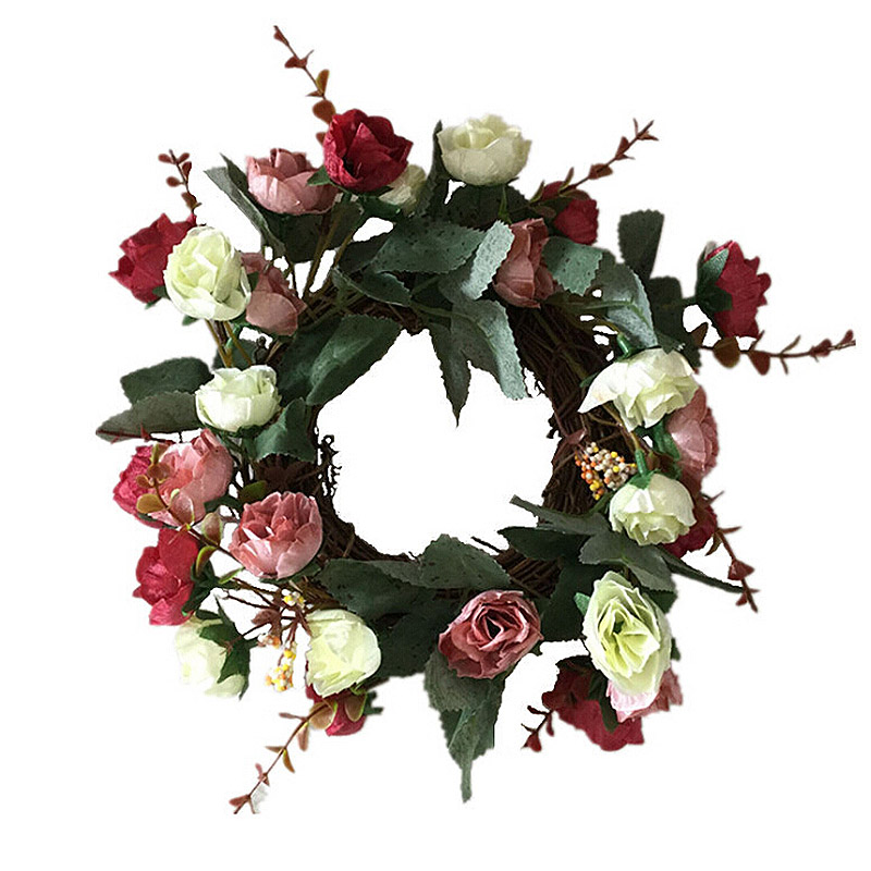 Silk Artificial Rose Flower Wreaths Door Hanging Perfect Gift Fake Flower Garland For Wedding Decoration Home Party Window Decor