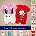 Baby bodysuit baby clothes newborn 01 3 6 sleepwear summer short-sleeve