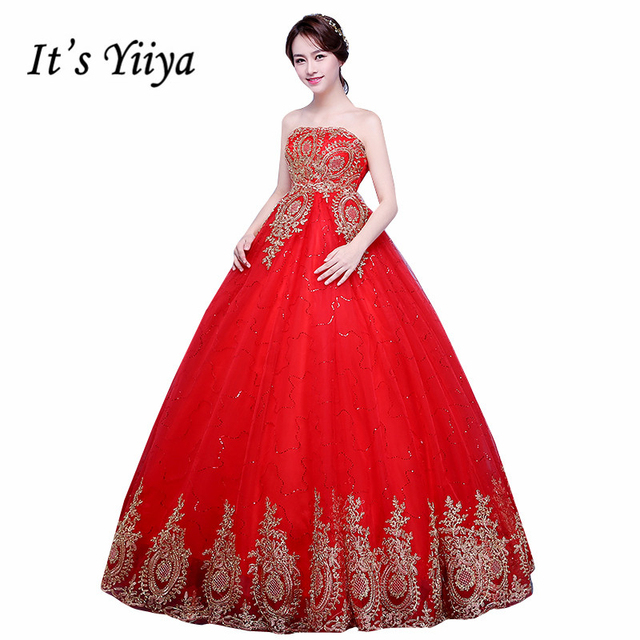 New 2017 Plus Size Red With Gold Lace Strapless Pregnancy Wedding Dresses Bride Frock Custom