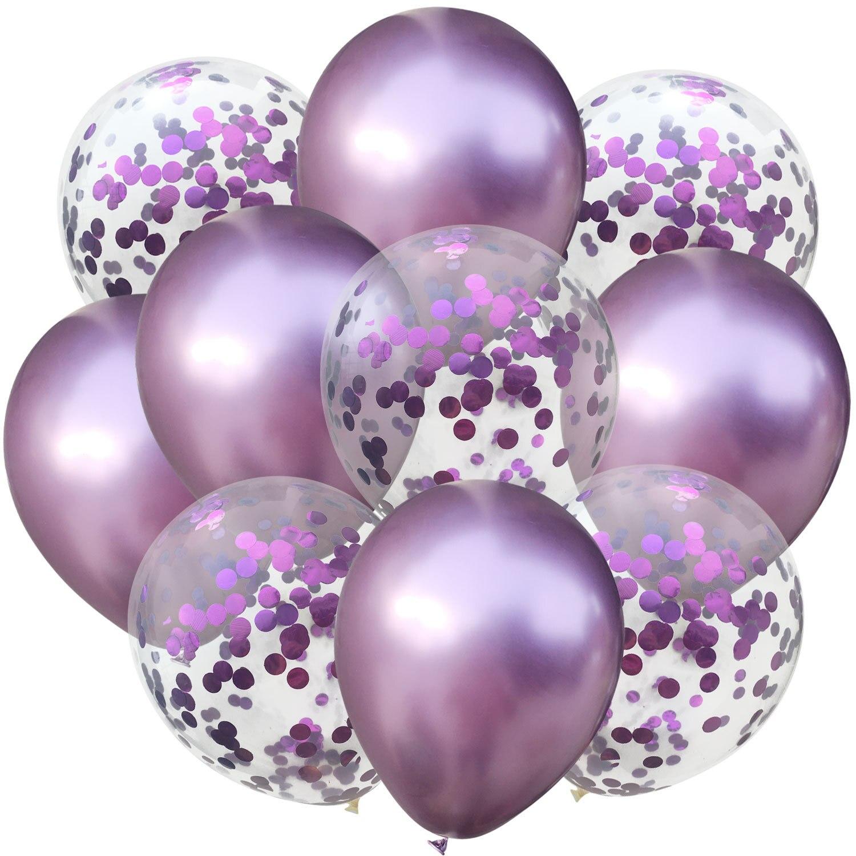 10 шт./лот, 12 дюймов, 5 шт., металлический цвет+ 5 шт., конфетти, латексные шары, для детей, для дня рождения, украшения, шары, мультяшная шляпа, игрушка - Цвет: light purple