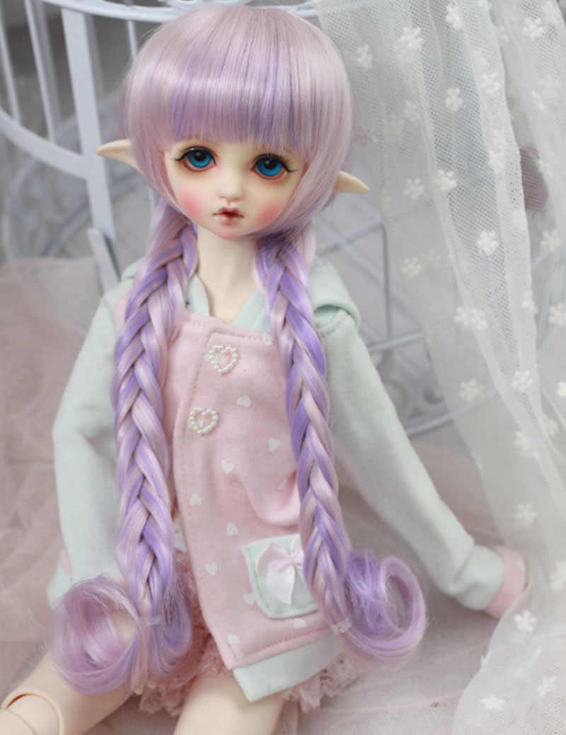 ZORONENKE 1/3 1/4 1/6 Bjd SD кукла парики высокотемпературный синтетический провод милый фиолетовый с двумя оплетками куклы с париками аксессуары