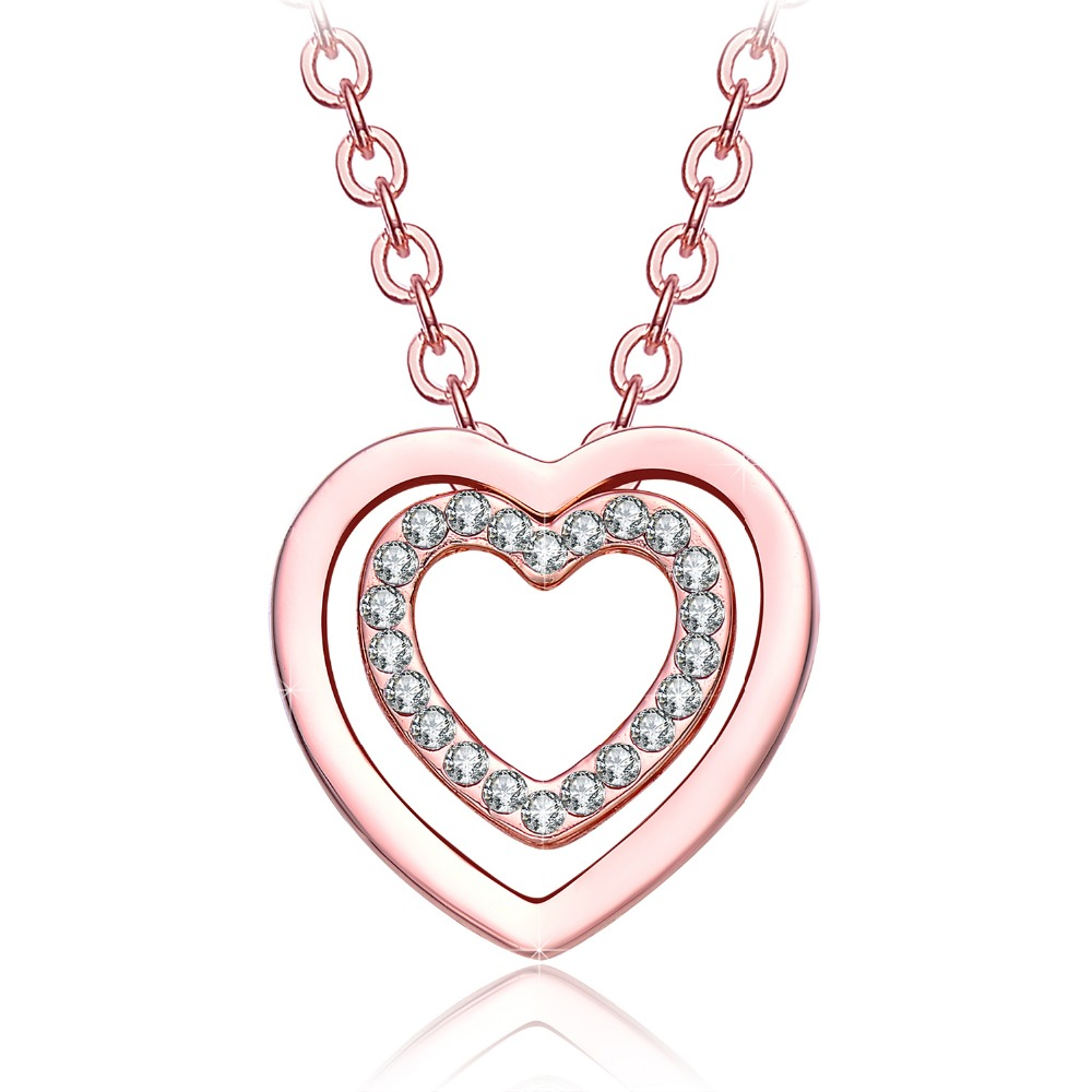 Valentines Day Gifts NEEMODA 18K Rose Gold Plated Crystal Heart Pendant  Necklace For Women Fashion Jewelry Birthday Gift For Her