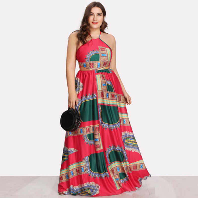 WHZHM винтажное платье макси с лямкой на шее Jurk летнее платье без рукавов для женщин Vestido Плюс Размер Vadim сексуальное платье с открытой спиной на шнуровке вечерние платья с принтом