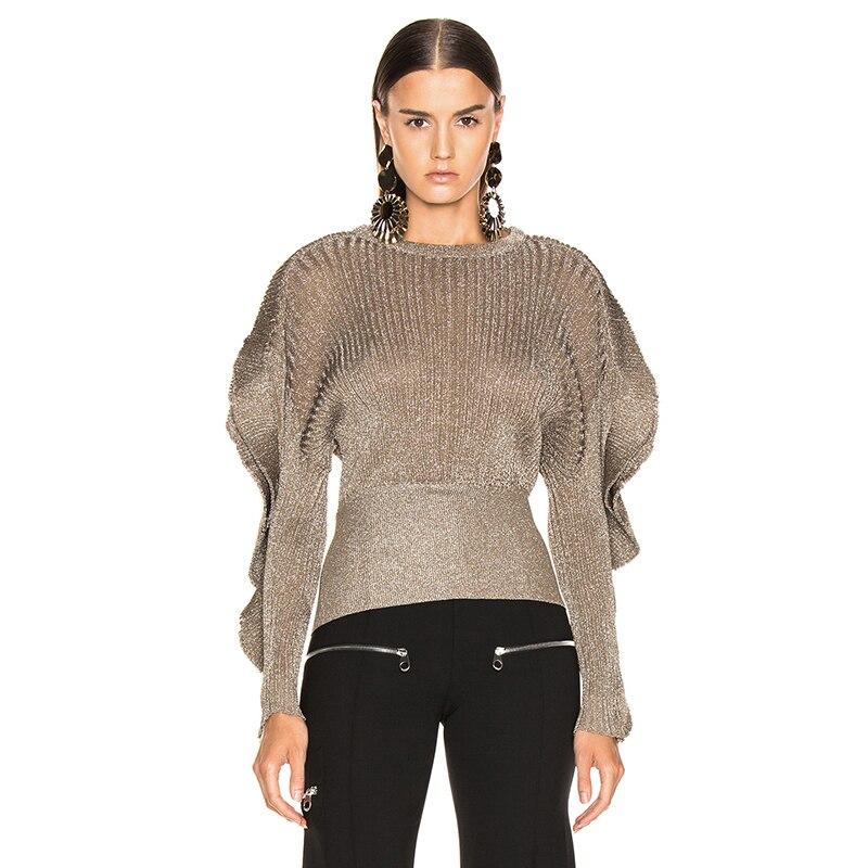 ด้ายโลหะถักเสื้อกันหนาวยาว Ruffled แขนรอบคอ Ribbed Hem แฟชั่นเงา Designer จัมเปอร์ 2019 ผู้หญิงใหม่-ใน เสื้อคลุมสวมศีรษะ จาก เสื้อผ้าสตรี บน   1