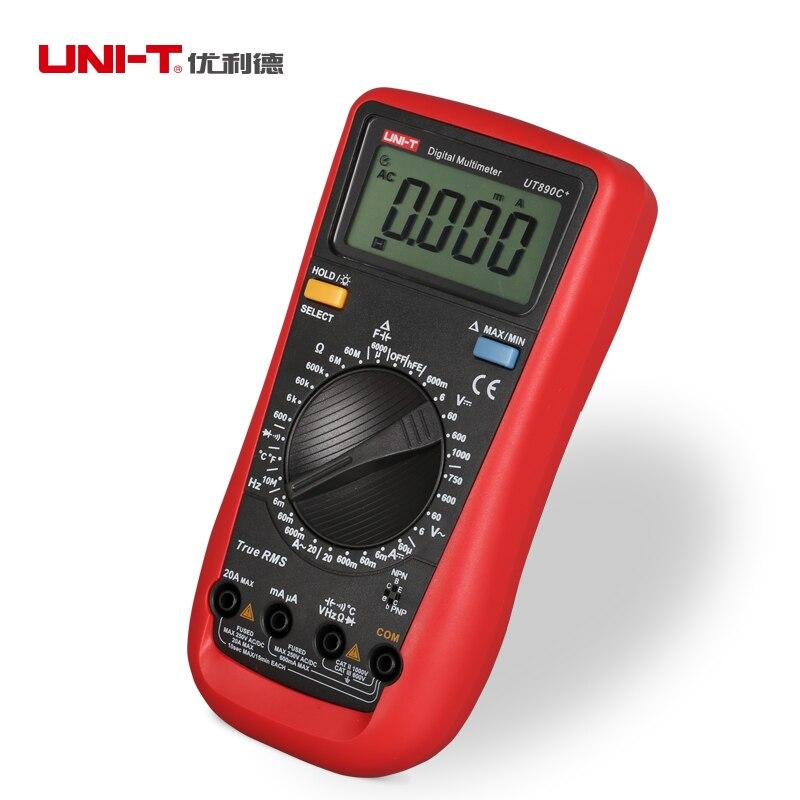 UNI T UT890C + RMS Verdadeiro Multímetro Digital DMM AC DC Tester LCD Backlight Diode Frequency medidor de Temperatura multi