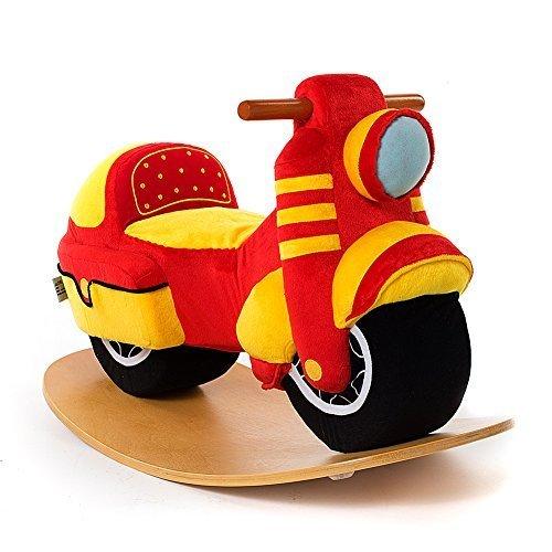 Rocking Motorcycle Kids Plush Stuffed Ride On Toy Wooden Rocker Rocking Horse