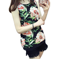 women sweet flowers print sleeveless chiffon blouses o neck back split shirts ladies retro summer casual tops