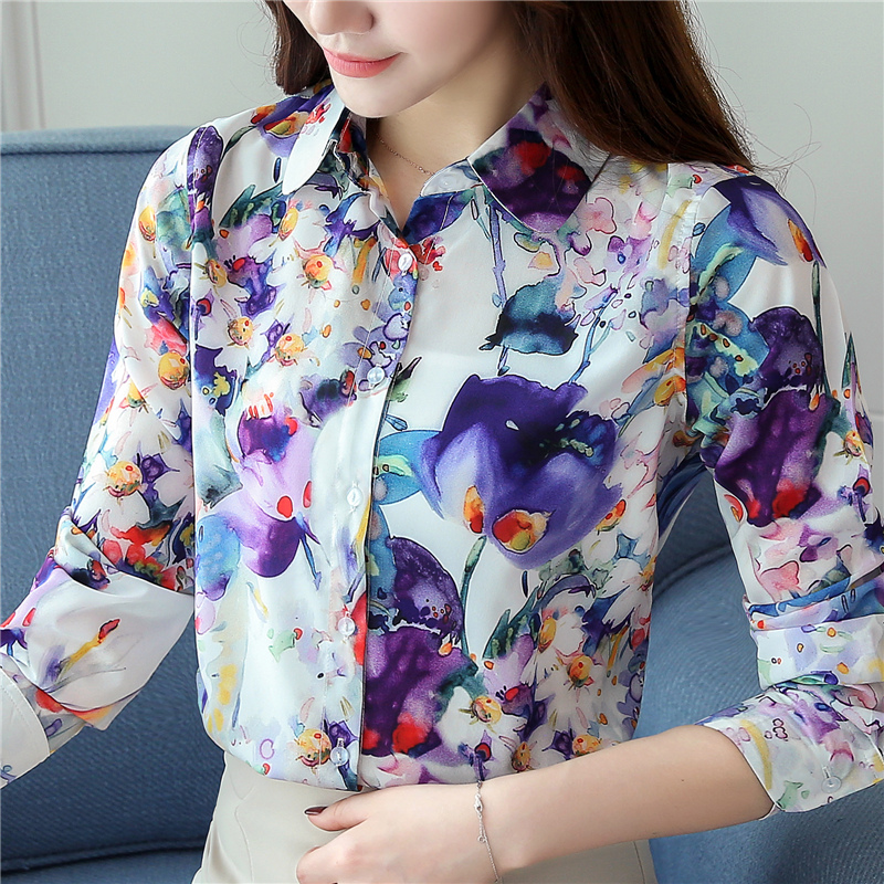 S-XXL Lady V-neck Printed Official Silk   Blouses     Shirts   Women Formal Printing Flower   Shirt     Blouses   Tops For Girls GD9033