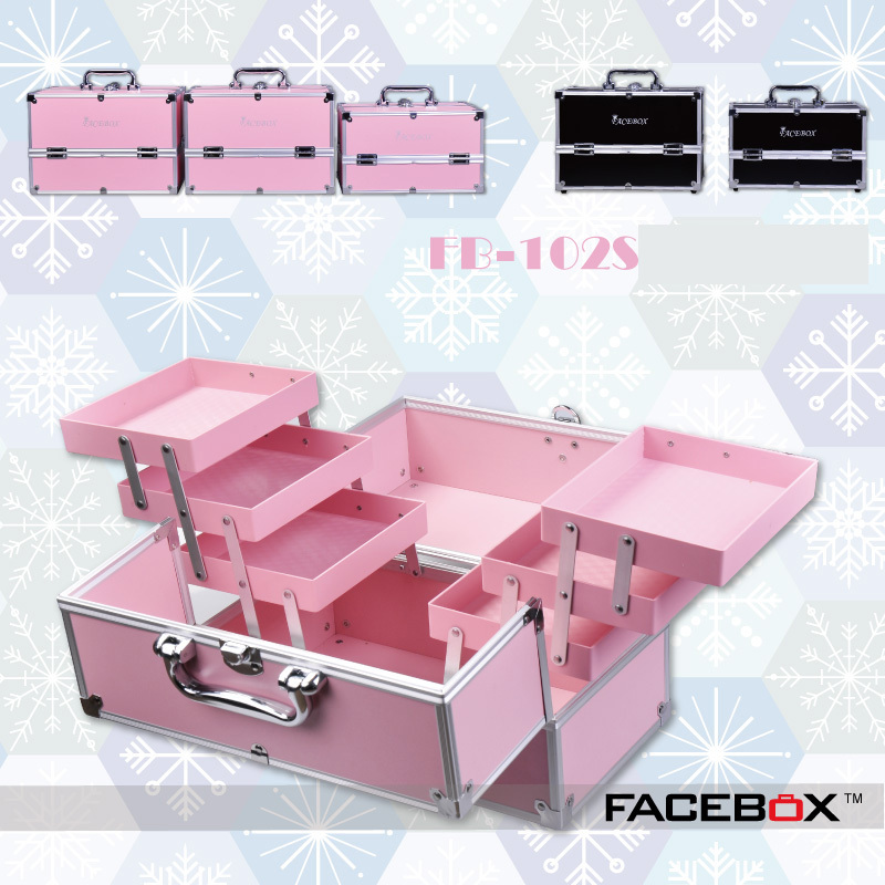 6 Type Facebox Fashion Aluminum Cosmetic Case Beauty Box with Inner Tray Professional makeup box Black and pink color makeup trolley bag malaysia