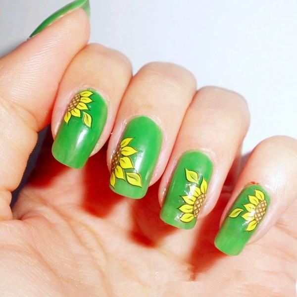 Nueva moda flor floral girasol nail sticker Decal agua transferencia ...