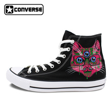 Original Converse Chuck Taylor Shoes Hand Painted 3 Eyes Artistic Style Cats Men Women Skateboarding Shoes Designer Sneakers