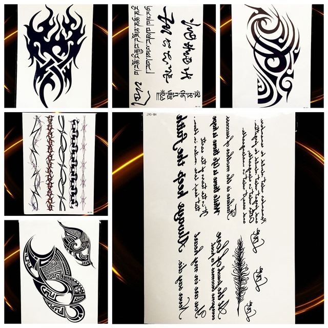 25 Style Waterproof Black Totem Arm Tattoo For Men Women Fake Letters Chinese Character Tatoo Body Art Temporary Tattoo Stickers