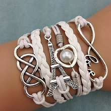 Women's Chic Braided Multilayer Love Heart Eiffel Tower Faux Leather Bracelet
