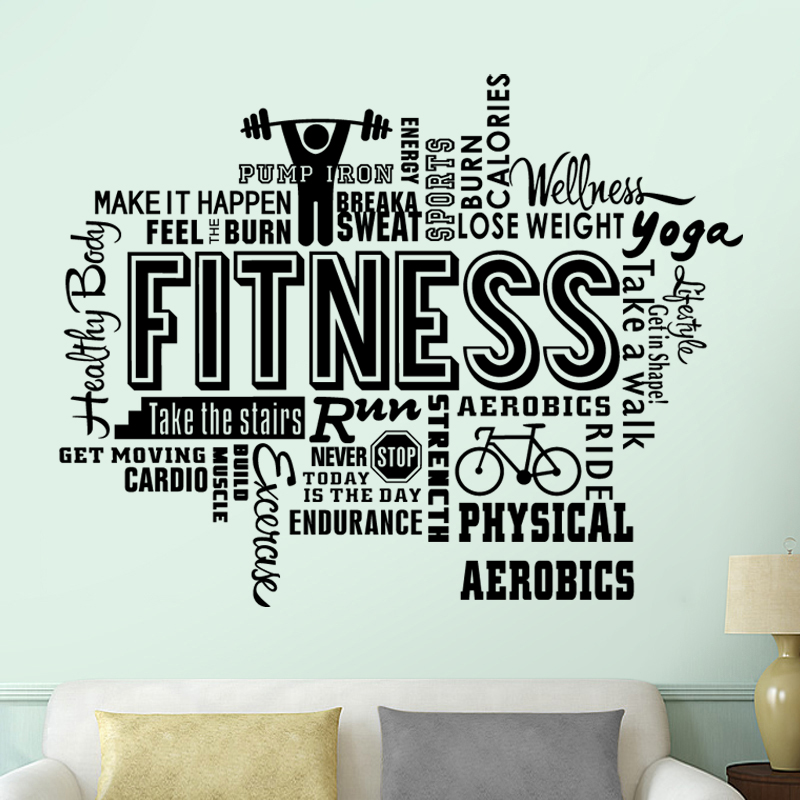 45762b56a ... Gym Name Sticker Fitness Crossfit Barbell Decal Body-building Posters  Vinyl Wall Decals Parede Decor