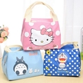 Nuevo 2016 de Dibujos Animados Portátil Cute Hello Kitty Bolsa de Almuerzo Con Aislamiento Estuche de Lona Bolsas De Picnic Para Niños Mujeres Térmica fría bolsa
