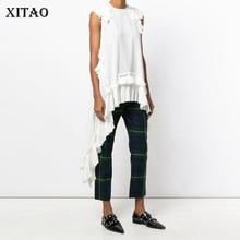 XITAO белая футболка без рукавов с асимметричным подолом, сексуальная женская одежда, Лоскутная футболка с круглым вырезом и оборками для девочек, хиппи, шикарная футболка, новинка LJT3008